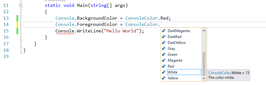 Color Indicator for Code Changes and Visual Studio IDE Status Change