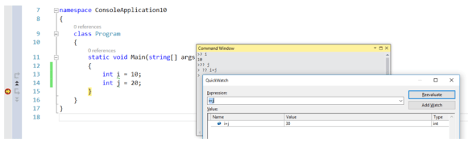 Using multipurpose Command Window to execute things faster in Visual Studio