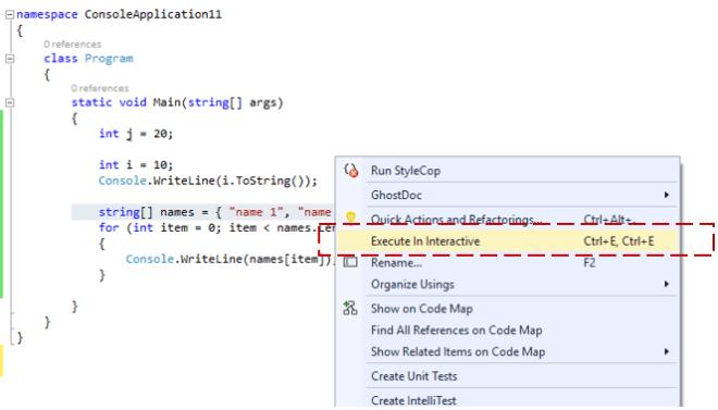 """Execute in Interactive""– Send to C# Interactive Window – Visual Studio 2015"