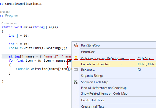 """Execute in Interactive""– Send to C# Interactive Window – Visual Studio 2015"