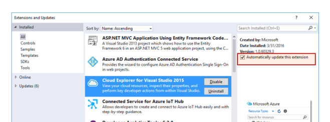 Updating Extensions Automatically in Visual Studio 2015