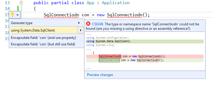 "Add Using command for misspelled types using""fuzzy"" matching – Visual Studio 2015"