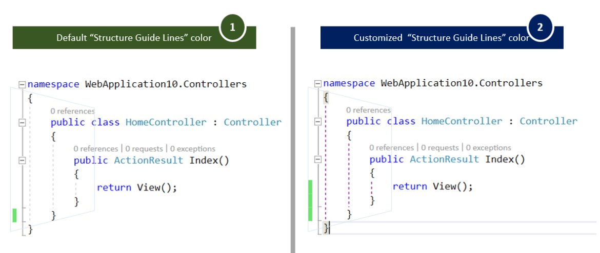"""How To customize """"Structure Guide Lines"""" Colors in Visual Studio 2017 ?"""