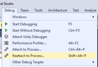 Reattach to Process in Visual Studio 2017