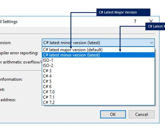 Choosing the C# Language latest version (minor release ) in Visual Studio 2017