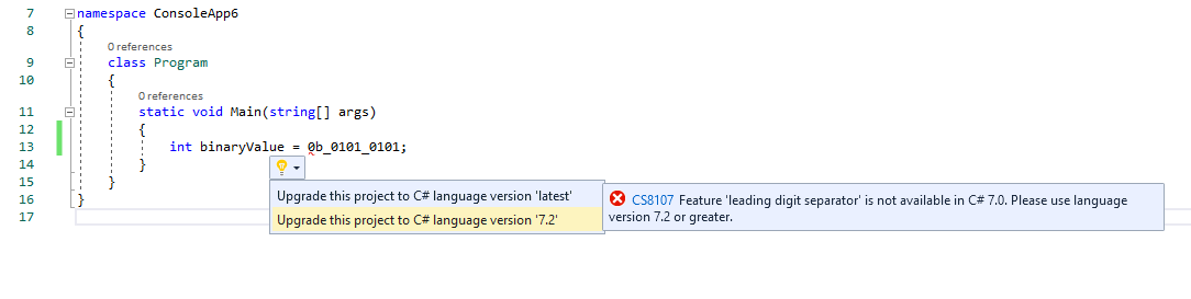 Using Quick Actions in Visual Studio to upgrade project's language version