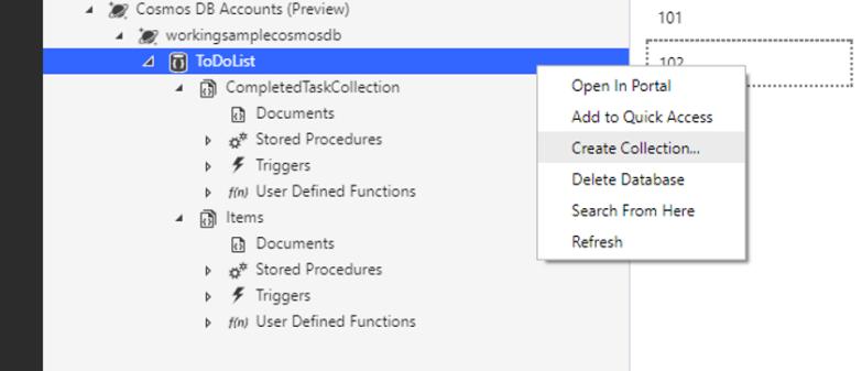 Azure Storage Explorer for Cosmos DB - Database Operation