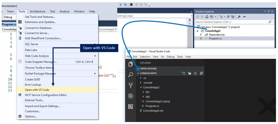 Open your current project in Visual Studio Code directly from Visual Studio IDE