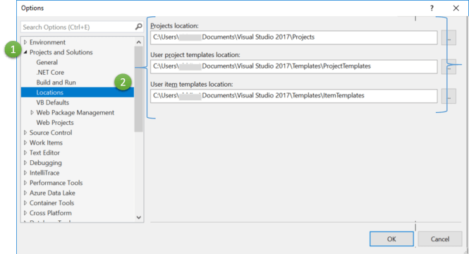 Project and Item Template Location in Visual Studio 2017