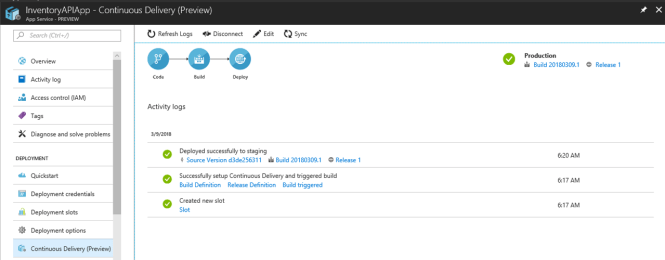 Continuous Delivery for Azure App Services from Azure Portal