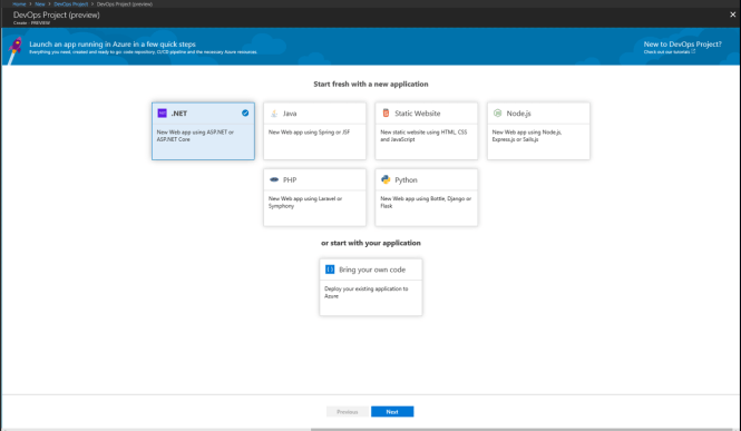 Azure DevOps Project - Choose Type of Project