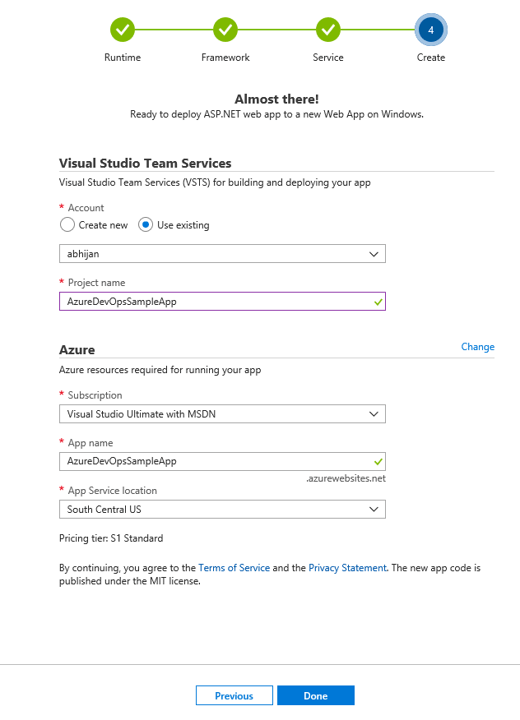 Azure DevOps Project - Setup VSTS and Azure Subscription