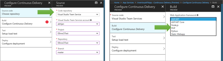 Continuous Delivery for Azure App Services from Azure Portal - Details