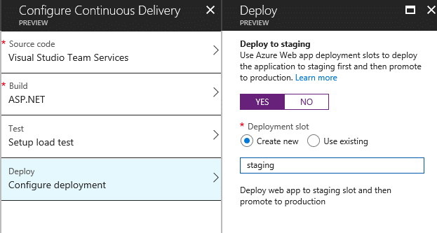 Creating Deployment Slots  - Creating Deployment Slots - Setting up Continuous Delivery for Azure App Services from Azure Portal
