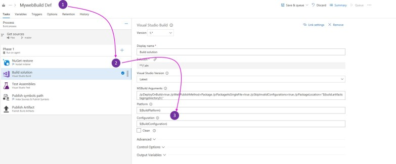 Editing Build Configuration in VSTS