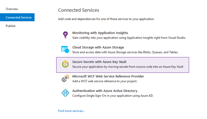 Azure Key Vault connected service in Visual Studio : Azure Key Vault Connected Service