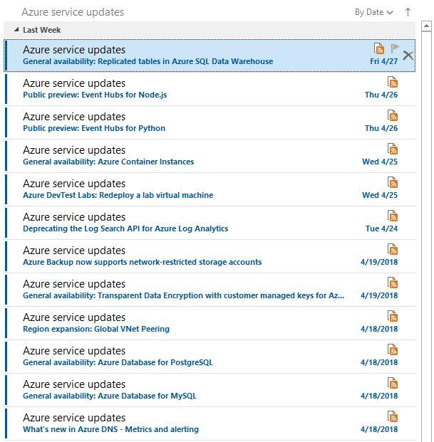 Azure Services RSS
