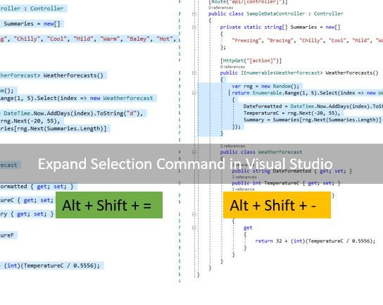 Expand Selection command in Visual Studio 2017