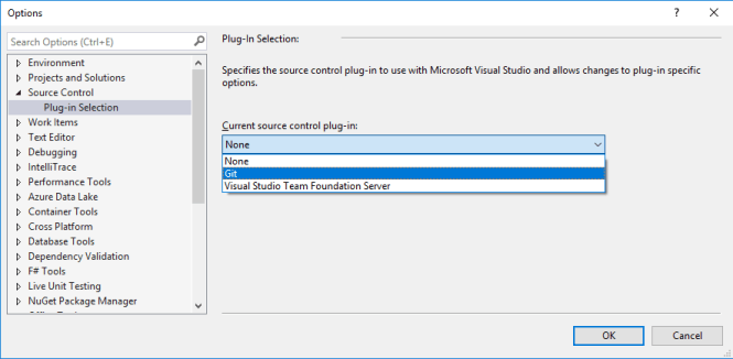 Add to Source Control Option for New Project Dialog : Selecting Source Control Plug-in