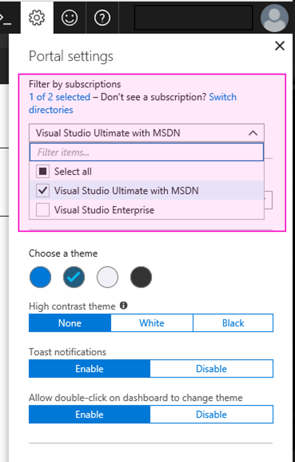 Global Subscription Filtering in Azure Portal : Portal Settings - Subscription Filtering