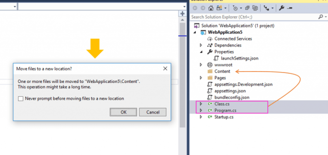 Prompt before moving files to a new location : Prompt Before Moving Files in Solution Explorer