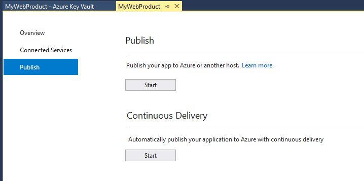 azure app service on Linux : Publish Dialog Window