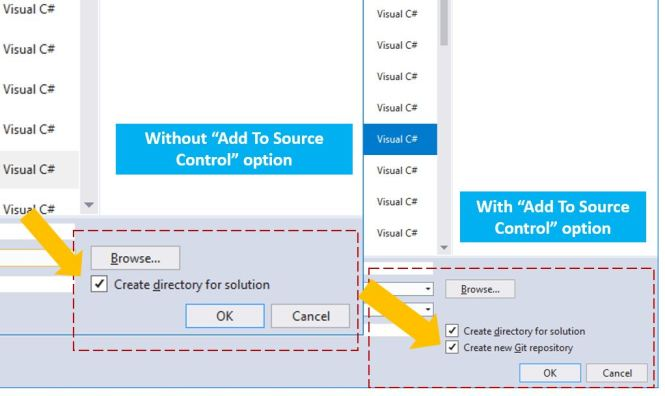 Enabling source control option for New Project Dialog in
