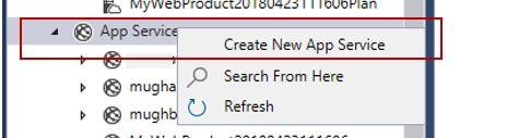 Create new Azure App Service using Cloud Explorer in Visual Studio