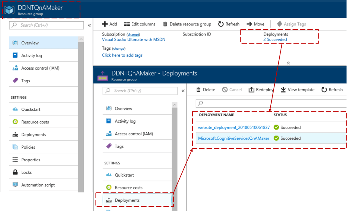 Azure Portal Tip: Check deployments of Azure resources from the Resource Group