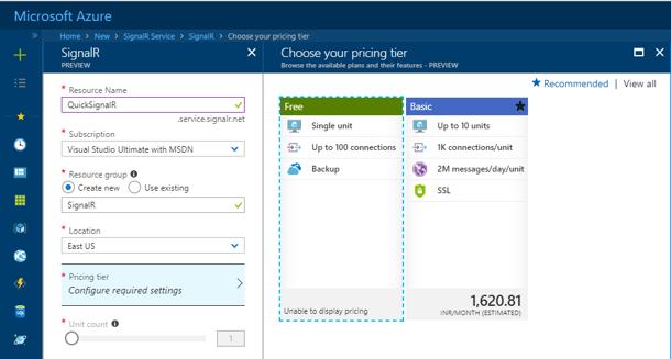 Azure SignalR Service - Create Service