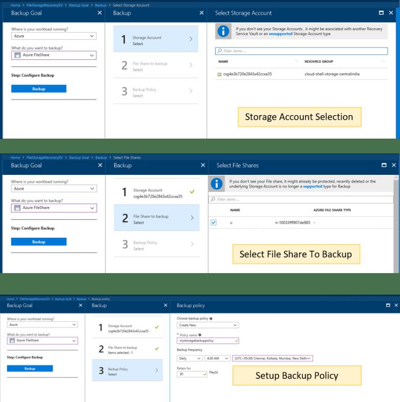 Azure cloud backup for Azure File Shares - Backup Configuration