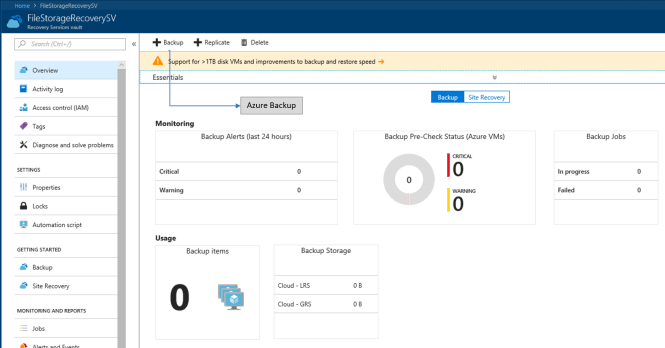 Azure cloud backup for Azure File Shares - Recovery Vault Dashboard