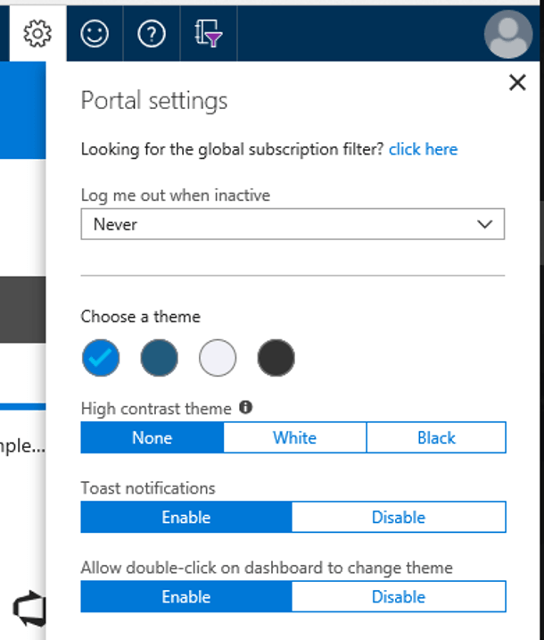 Change Azure Portal Theme