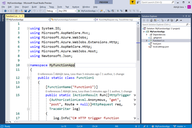 Code for Azure Function