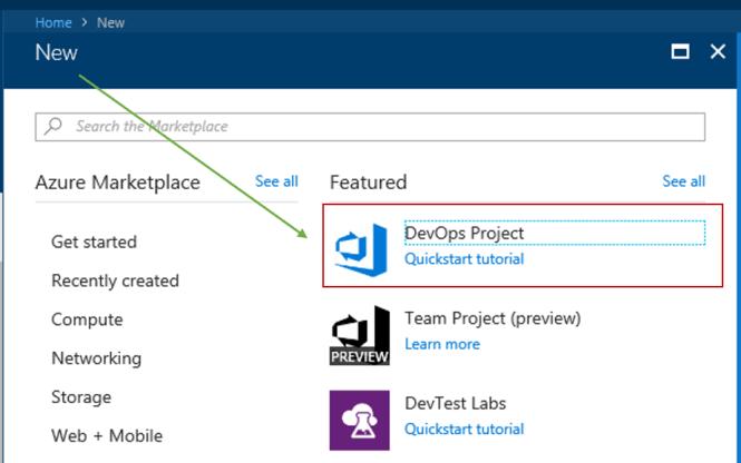 Create New Azure DevOps Project
