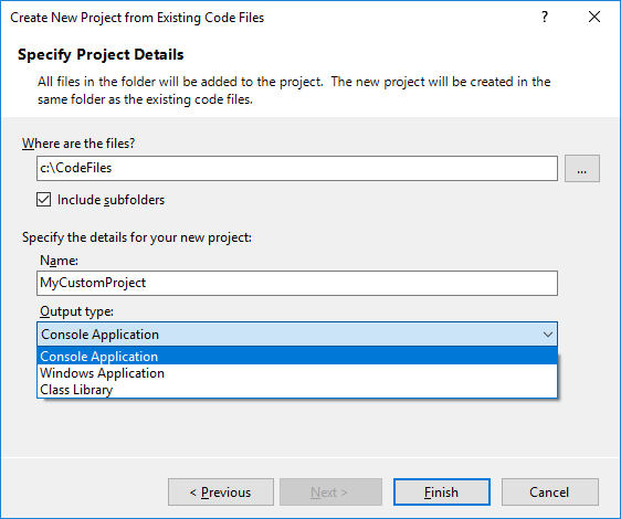 Create a Project from Existing Code Files - Wizard2