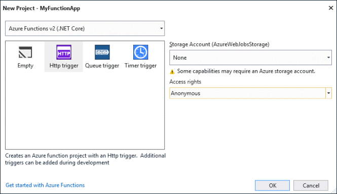 New Project Azure Functions Options