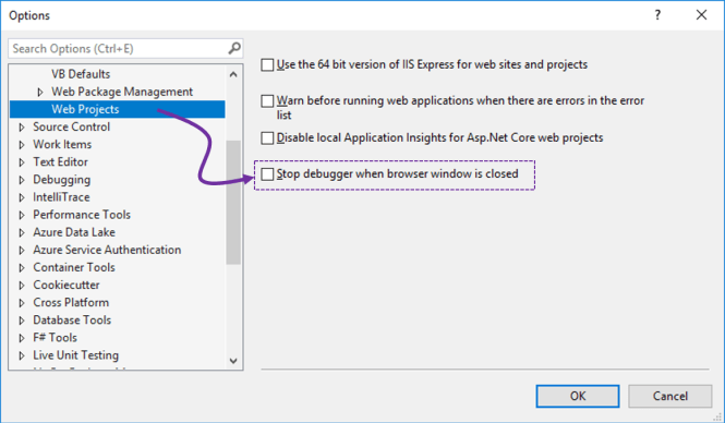 Keep Visual Studio debugger on