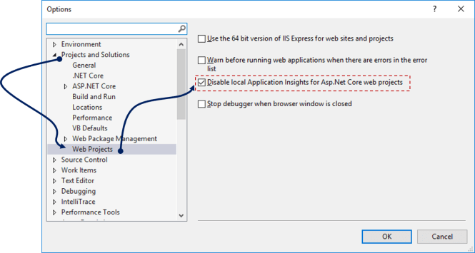 Disable local Application Insights for Asp.Net Core Projects