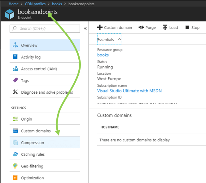 Enable Compression for Azure Content Delivery Network - Select Compression