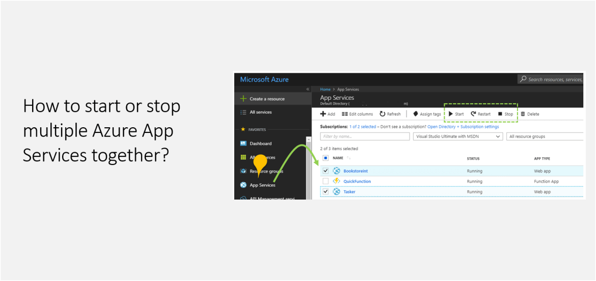 How to start or stop multiple Azure App Services together?
