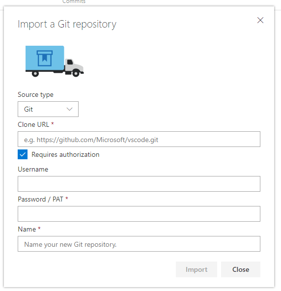 Import an existing Git Repository in your VSTS Team Project - Import Wizard