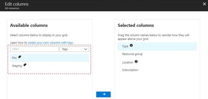 Locate Azure Resources Tags Easily - Filtered Column