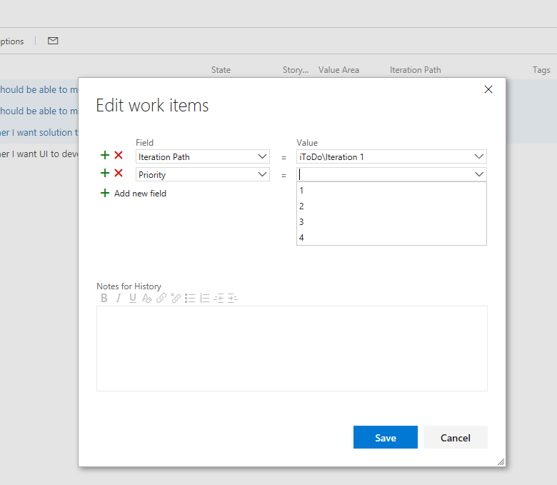 Modify Multiple Work Items together in VSTS - Edit Fields
