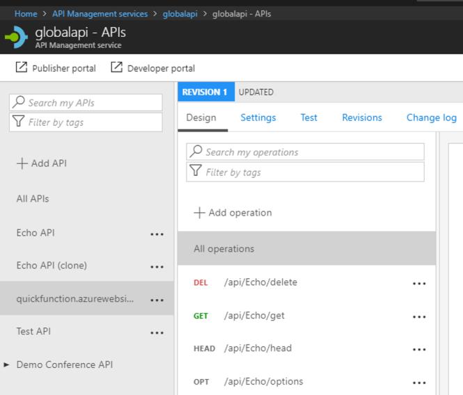 Using Azure API Management with Azure Function - Function API