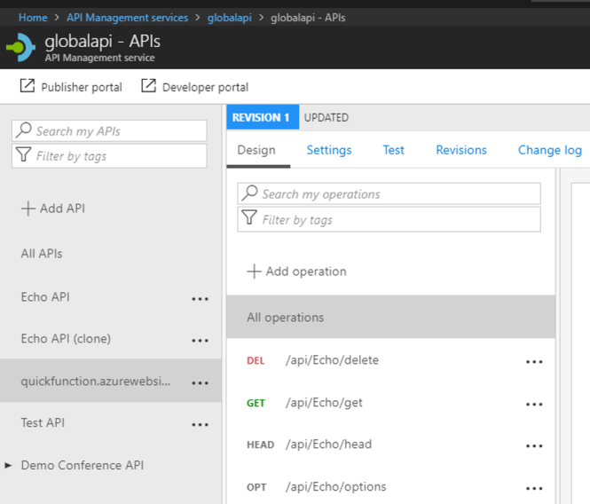 Using Azure API Management with Azure Function - Function API