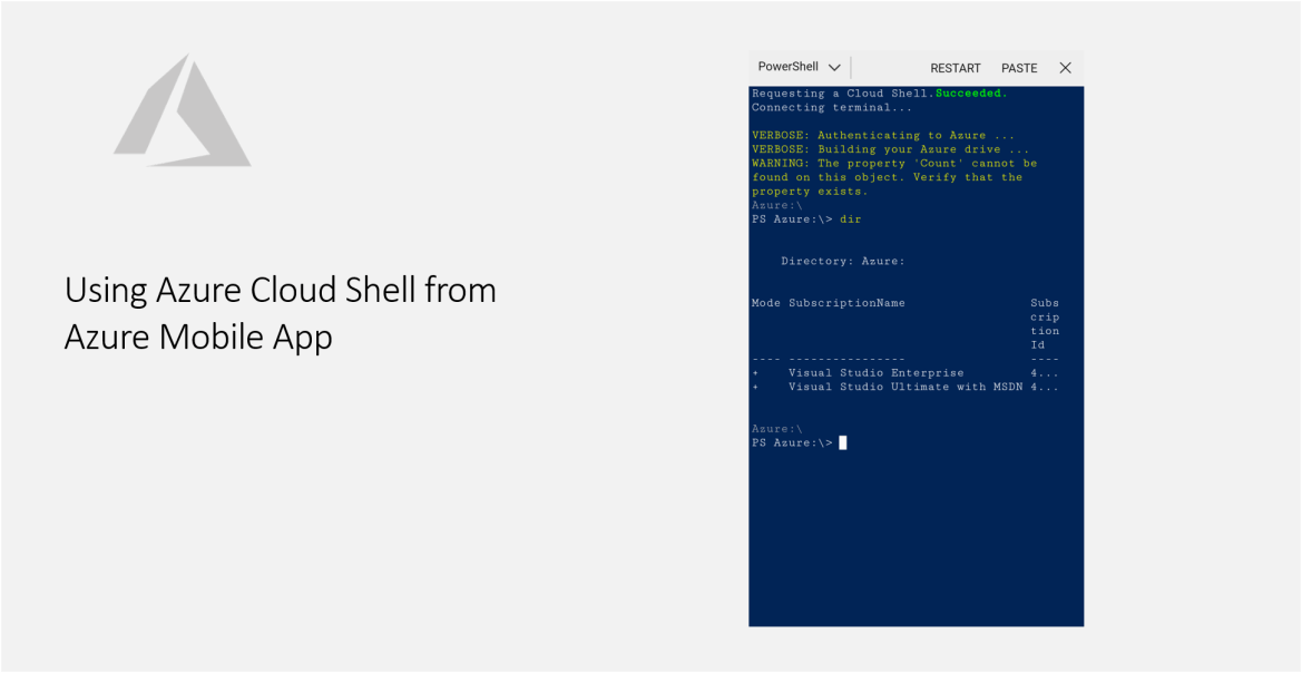 Using Azure Cloud Shell from Azure Mobile App