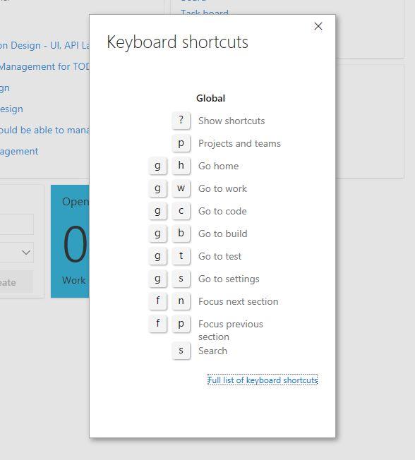 VSTS Keyboard Shortcuts - Start