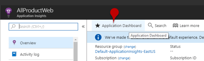 generate Azure Dashboard from Application Insights Telemetry - Select