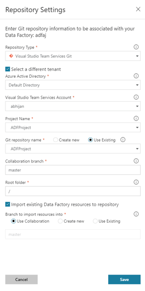 Code Repository for Azure Data Factory - Repository Settings